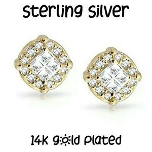 14k Gold/Sterling Silver Invisible Cut CZ Earrings